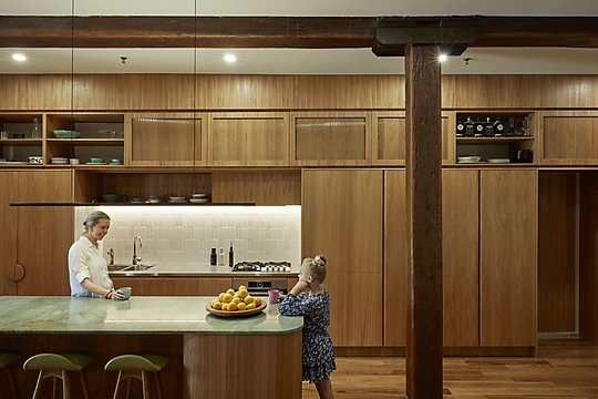 Interior photograph of Woolstore Apartment Renovation by Christopher Frederick Jones