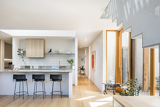 Interior photograph of Timberstick House by Michael Kai